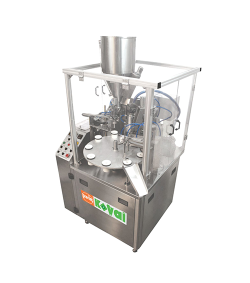 PK 30 PL / Combo is a fixed speed tube filling and sealing machine suitable for outputs of 45 tubes per minute. It is designed for filling and sealing, plastic, plastic laminate and aluminum laminate tubes of up to 50mm diameter and with a maximum filling volume of 250 ml. The machine is designed for manual feed of tubes and automatic filling and sealing the tubes. Tube coding in the seal area and tube trimming are also automatic operations performed prior to tube discharge.